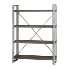 brixton industrial loft 4 tier metal wood etagere display and wall shelves