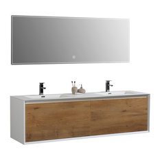 "Icon 75"" Vanity Set With LED Mirror, White"