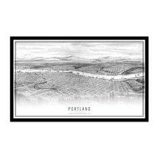B&W Portland Map, Wood Frame