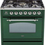 ILVE - 30'' Nostalgie Gas Range in Emerald Green with Chrome Trim, NG - The Nostalgie immediately states its vocation as a range designed and made for the most demanding skilled user. Its classic look is enhanced by its frame offering burners rated up to 155000 BTU/h. It is a fully fledged professional range for domestic market.