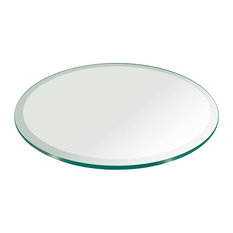 Round 1/2'' Thick Beveled Tempered Glass Table Top, 60
