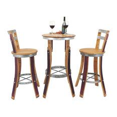 Wine Barrel High Pub Set, Stools With Backrest