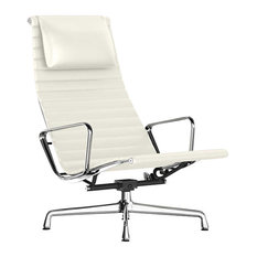 Eames Aluminum Lounge Chair w/ Headrest by Herman Miller, Pearl White MCL