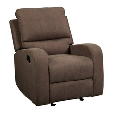 Metal And Fabric Reclining Club Chair Brown