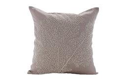 """Beige Cotton Linen 26""""x26"""" Beaded Shrub Euro Shams, Pearl Shrub"""