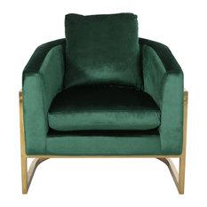 Chloe Modern Velvet Glam Armchair With Stainless Steel Frame, Emerald
