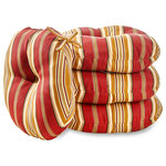 "Greendale Home Fashions - Round 15"" Outdoor Bistro Chair Cushion, Set of 4, Roma Stripe - Add a bit of comfort and style to your outdoor bistro set with these Bistro Cushions from Greendale Home Fashions. Featuring two string ties to secure to chairs, and a center circle tack to secure foam cushioning in place without bunching or migrating. Each set includes four 15 inch round cushions made from a 100% polyester, UV coated material that is fade, stain and water resistant.  The cushion's poly fiber fill is made from 100% recycled, post-consumer plastic bottles, and overstuffed for added comfort, strength and durability.  A variety of modern prints are available."