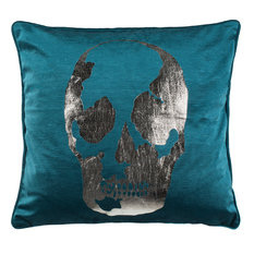 Romey Skull Pillow - Green, 12x20