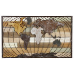 Aspire - Marco World Map Wall Decor - Combining rustic iron and wood finishes, the Marco World Map Wall Decor is a truly attractive home accent. Inset behind the distressed iron map are color washed wood slats that contribute to the industrial feel of this piece.