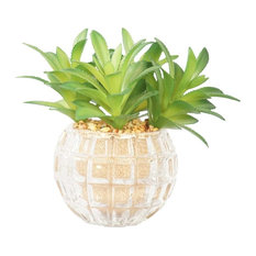 """Set Of 2 25"""" Tall Succulents Artificial Indoor/ Outdoor Faux Decor in Glass"""
