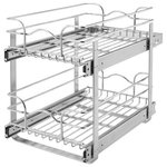 "Rev-A-Shelf - 12"" Chrome Two-Tier Wire Baskets - Rev-A-Shelf's Two-Tier baskets make other 2-shelf units fail in comparison.  With the heavy gage construction, ball-bearing slides on both baskets, and multiple mounting points this is the best two-tier unit on the market.  With 100lb slides on each basket you don't have to worry about overloading or bending the wire as these units will work in almost any size base cabinet.  The multiple mounting points make sure that any sort of side to side movement is limited.  Finish the look off by adding the optional door mount kit.                                                                                                                                                                          � (1) top basket, (1) bottom basket, (2) u-shape supports, (1) rear moutning bracket and mounting hardware"