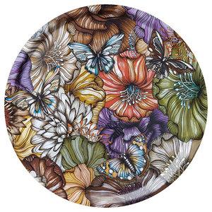 Flower Power Brown Tray, 46 cm