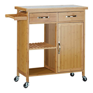 Modern Serving Trolley Cart, Natural Bamboo Wood With 2-Door and 2-Drawer