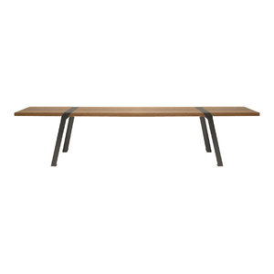 Solid Oak and Steel Dining Bench, Grey, Large