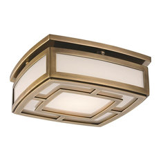 Elmore Small LED Flush Mount, Aged Brass Finish, Frosted Glass