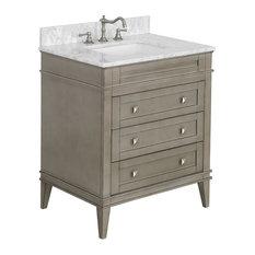 "Eleanor Bathroom Vanity, Weathered Gray, 30"", Carrara Marble Top"