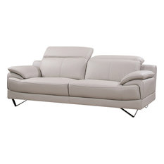 All In One Furniture   Pasadena Leather Sofa, Beige   Sofas