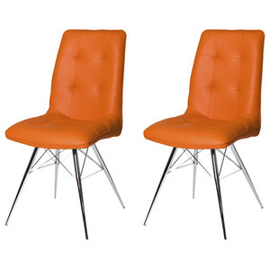 Tampa Upholstered Dining Chairs, Set of 2, Orange