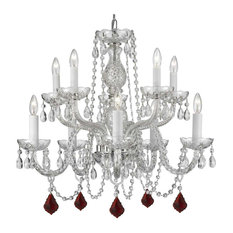 Crystal Chandelier With Colored Crystal Balls, Without Shades