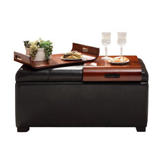 Storage Ottoman With Trays Espresso