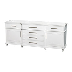 "Berkeley 80"" Double Vanity No Top No Sinks, White, No Mirror"