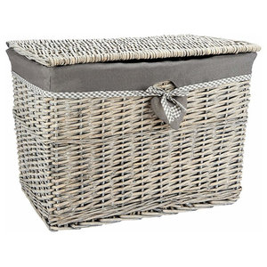 Modern Trunk in Wicker with Cloth Linning, Grey Mate Finish