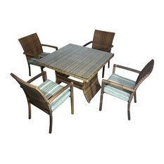 Moreno 5-Piece Dining Set, Blue Cushion