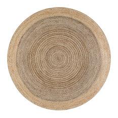 Jute Simple Border Area Rug, Gray, 8' Round
