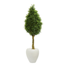 Artificial Tree -4.5 Foot Boxwood Cone Topiary Tree In White Oval Planters