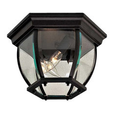 """The Great Outdoors GO 71174 3 Light 10.75""""W Flush Mount Ceiling - Black"""