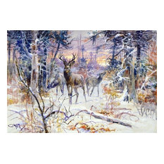 Charles Marion Russell A Deer in a Snowy Forest Gallery Wrapped Canvas Print