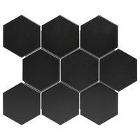 "10""x11.8"" Glazed Porcelain Mosaic Barcelona Hexagon Matte Black, Set of 10"