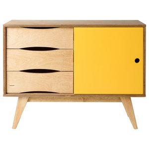 SoSixties Sideboard, Oak and Yellow, Small