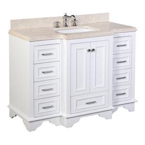 "Nantucket Bath Vanity, Base: White, 48"", Top: Crema Marfil"