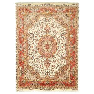 Tabriz 70Raj Silk Warp Persian Rug, Hand-Knotted Classic, 410x305 cm