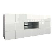 Chequers Glossy White Sideboard, 2 Drawers