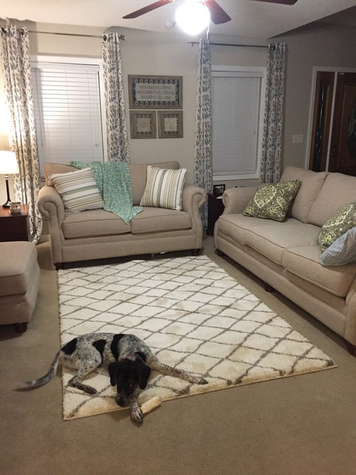 Good Not Sure About Area Rug Over Carpet. How Does This Look? (Donu0027t Mind The  Dog) Too Big Or Small? Or Does It Even Go With My Living Room? Clueless