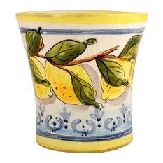 Feba Italia - Medium Lemon Ceramic Utensil Pot - Utensil Holders and Jars