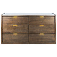 Safavieh Adeline 6 Drawer Dresser, Dark Chocolate