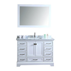 Stufurhome   Stufurhome Chanel Bathroom Vanity Set, White, 48 Inch   Bathroom  Vanities And