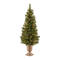 "National Tree Company - Montclair Spruce Entrance Tree 10"" Black/Gold Plastic Pot With 50-Light, 4' - Christmas Trees"