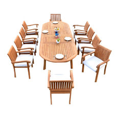 """11 Piece Teak Dining Set, 117"""" Double Extn Oval Table and 10 Nain Stacking Chair"""