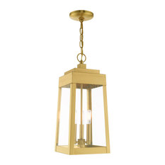 Transitional Outdoor Pendant Lantern, Satin Brass