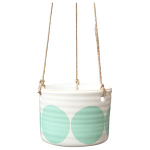 Ulla Spotty Hanging Pots, Turquoise, Small, Set of 2