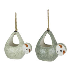 Set of 2 Adorable Ceramic Sloth Hanging Mini Planters Great For Succulents