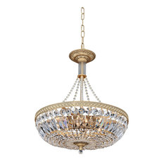 """Aulio 18"""" Round Pendant WIth Antique Gold, Firenze Clear"""