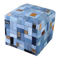 GDF Studio Butterfield Blue Cotton/ Jean Pouf