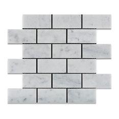 "Carrara White Marble Honed Subway Brick Mosaic Tile, 12""x12"" Sheets, Set of 5"