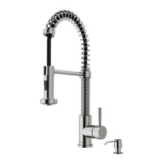VIGO Edison Pull-Down Kitchen Faucet With Soap Dispenser, Stainless Steel