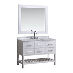 "London 54"" Single Sink Vanity Set, White with White Carrera Marble Top"